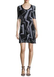 M Missoni Half-Sleeve Ribbed Geometric-Knit Dress