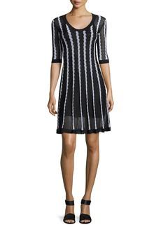 M Missoni Half-Sleeve Scoop-Neck Striped Knit Dress