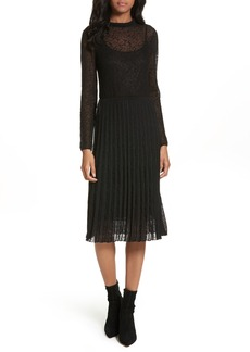 M Missoni Lace Plissé Pleated Midi Dress