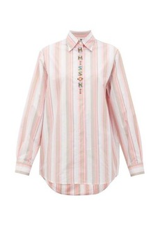 M Missoni Logo-embroidered striped poplin shirt