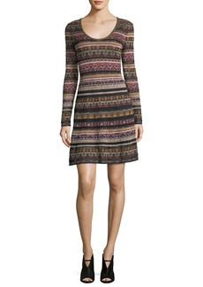M Missoni Long-Sleeve Floral Lurex® Jacquard Knit Dress