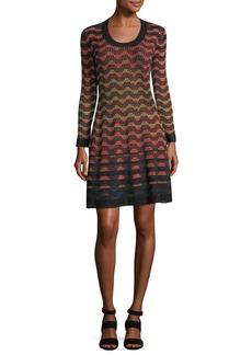 M Missoni Long-Sleeve Greek Key Open-Knit Dress