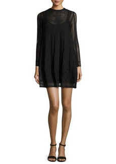 M Missoni Long-Sleeve Jewel-Neck Mini Dress