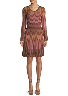 M Missoni Long-Sleeve Metallic Ripple Knit Dress