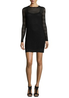 M Missoni Long-Sleeve Openwork Sheath Dress
