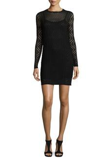 M Missoni Long-Sleeve Openwork Sheath Dress
