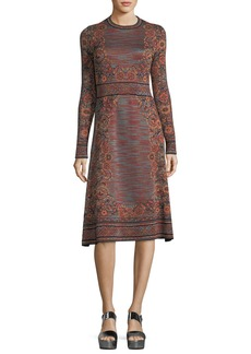 M Missoni Long-Sleeve Space-Dyed Floral Jacquard Dress