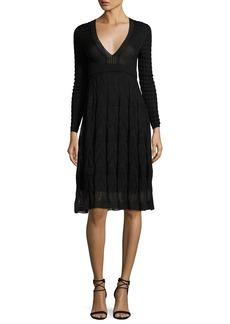 M Missoni Long-Sleeve Textured Knit A-Line Dress