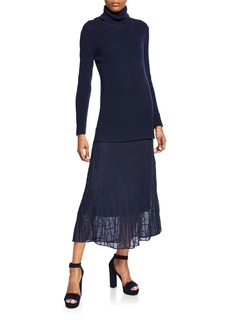 M Missoni Long-Sleeve Turtleneck Maxi Dress with Sheer Skirt