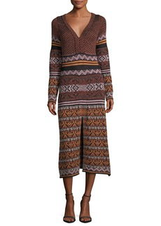 M Missoni Long-Sleeve V-Neck Metallic Ribbon Knit Dress w/ Center Slit