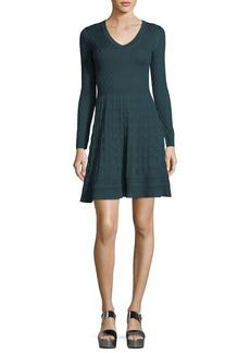 M Missoni Long-Sleeve V-Neck Solid Lace Plisse Dress