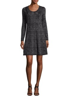 M Missoni Long-Sleeve Zigzag Lurex® A-Line Dress