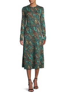 M Missoni Metallic Animal-Print Long-Sleeve Dress