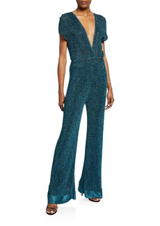 M Missoni Metallic Double V-Neck Short-Sleeve Flare Jumpsuit