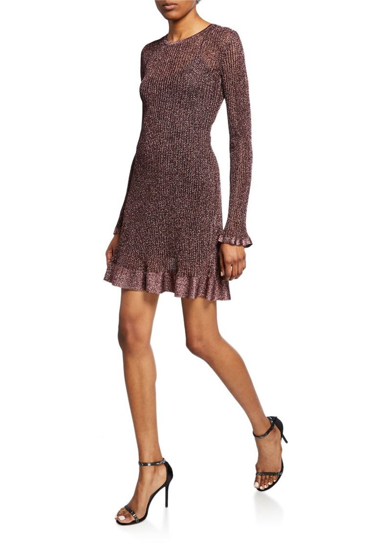 M Missoni Metallic Long-Sleeve Short Ruffle Dress