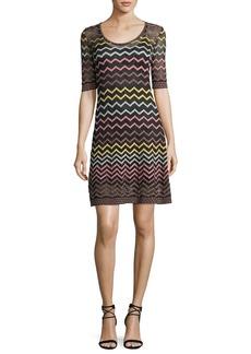 M Missoni Multicolor Zigzag-Print Half-Sleeve Dress
