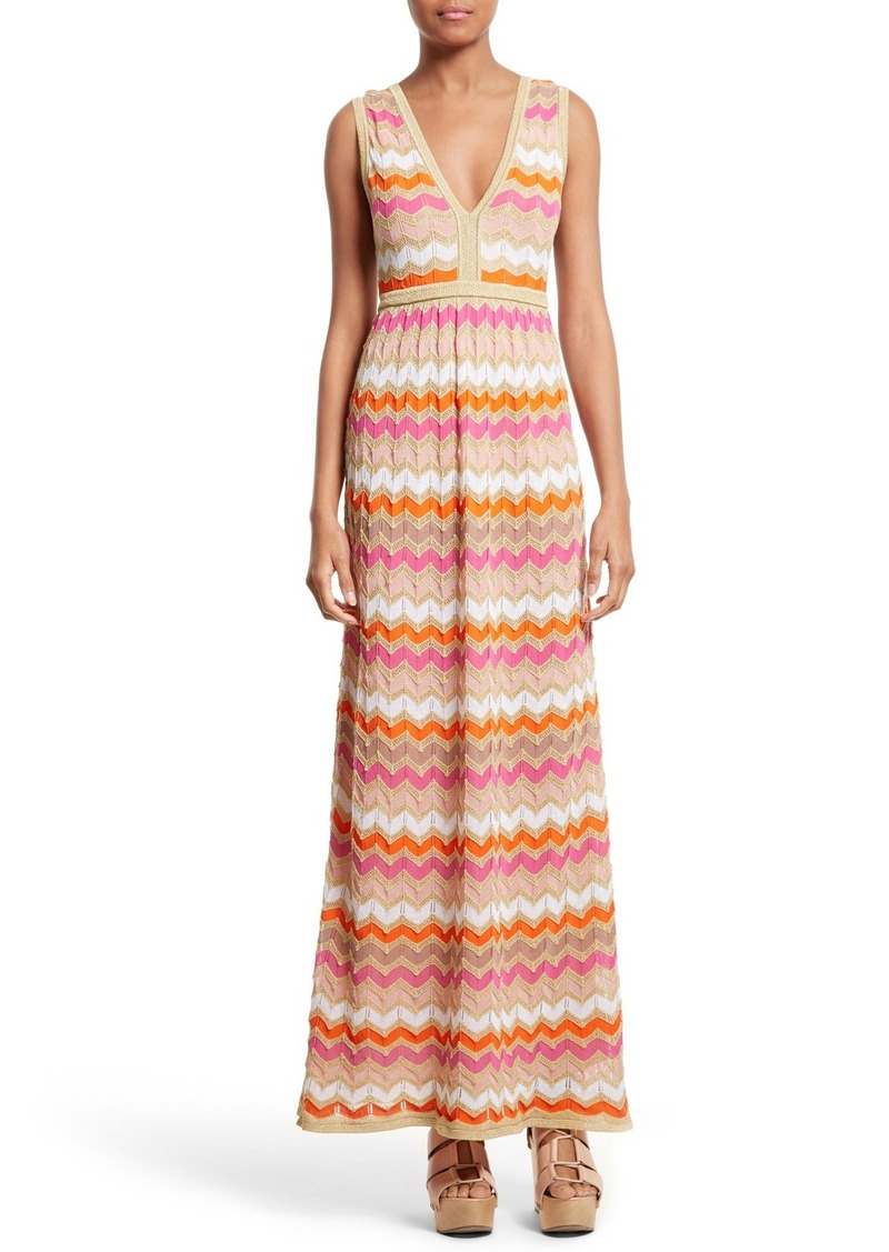 M Missoni Ombré Zigzag Knit Maxi Dress