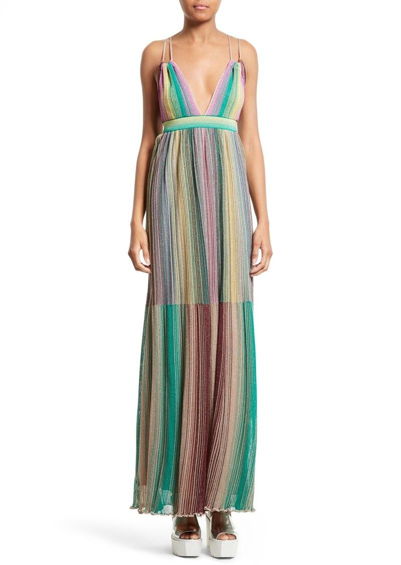 a662d279976ad3 M Missoni M Missoni Plissé Multicolor Maxi Dress
