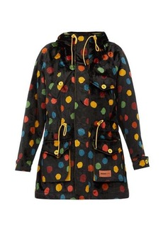 M Missoni Polka dot upcycled cotton-velvet hooded parka