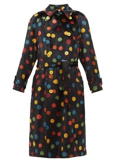 M Missoni Polka-dot print upcycled velvet trench coat