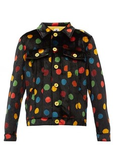 M Missoni Polka-dot print upcycled-velvet shirt jacket
