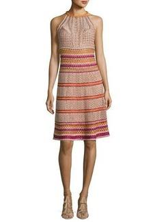 M Missoni Racerback Crocheted Metallic Knit Dress