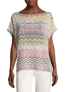 Rainbow Chevron Dropped Shoulder Top. M Missoni