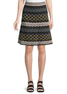 M Missoni Ribbon Wave Striped A-line Skirt