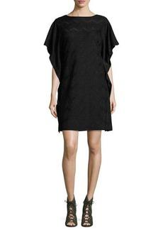 M Missoni Ruffled Dolman-Sleeve Metallic Jersey Dress