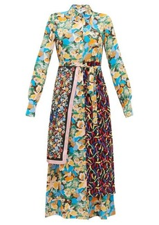 M Missoni Scarf-panel floral-print crepe shirt dress