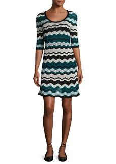 M Missoni Scoop-Neck Ripple-Stitch Ribbon Knit Dress