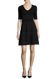 M Missoni Short-Sleeve Mix-Stitched A-Line Dress