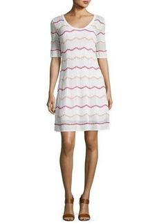 M Missoni Short-Sleeve Zigzag Knit A-Line Dress