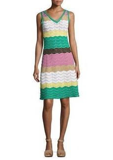 M Missoni Sleeveless Colorblock Zigzag Knit Dress