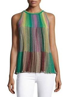 M Missoni Sleeveless Metallic Striped Plissé Blouse