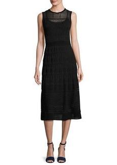 M Missoni Sleeveless Rib-Stitched Midi Dress