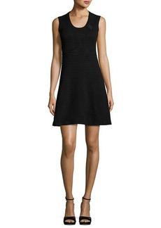 M Missoni Sleeveless Rib-Stitched Zigzag Knit A-Line Dress