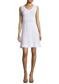 M Missoni Sleeveless Solid Zigzag Knit Fit-&-Flare Dress