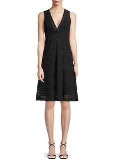 M Missoni Solid Rib Stitch Deep V-Neck Dress