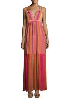 M Missoni Strappy Metallic Plisse Maxi Dress