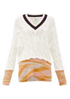 M Missoni V-neck cable-knitted sweater