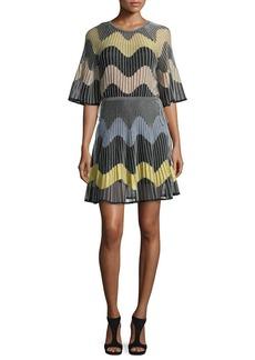 M Missoni Wave Intarsia Sheer Mini Dress