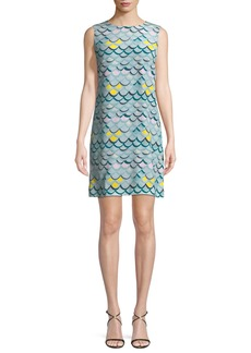 M Missoni Wave-Print Silk Tank Mini Dress