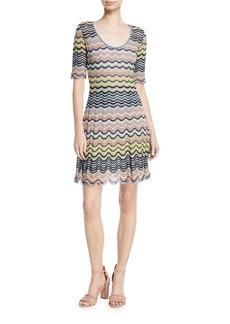 M Missoni Wave Ripple Knit Half-Sleeve Dress