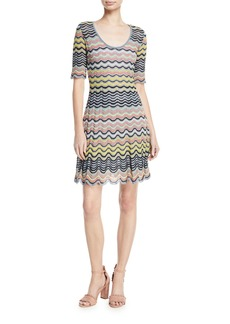 M Missoni Wave Ripple Knit Half-Sleeve Dress