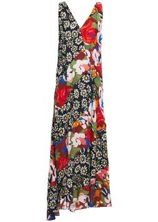 M Missoni Woman Asymmetric Patchwork Floral-print Crepe Maxi Dress Multicolor