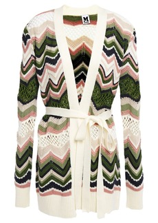 M Missoni Woman Belted Crochet-knit Cardigan Ivory