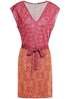 M Missoni Woman Belted Dégradé Crochet-knit Mini Dress Fuchsia