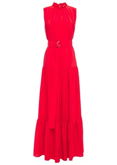 M Missoni Woman Tiered Ruffle-trimmed Silk Crepe De Chine Maxi Dress Red