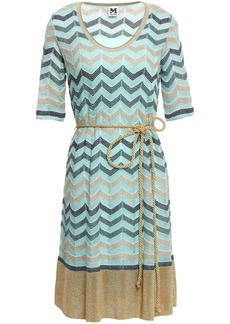 M Missoni Woman Belted Metallic Crochet-knit Dress Turquoise